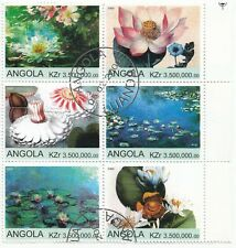 Angola; 2000 Flowers In Paintings, Block Of 6 x 3.5 Million CTO, With Selvedge