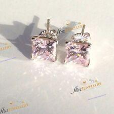 Sparkling Princess Cut Created Light Pink Diamond 100% 925 Silver Stud Earrings