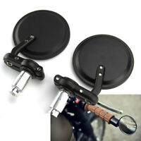 """7/8"""" 22mm Bar End Black Motorcycle Rear View Side Mirror For Honda GROM MSX125"""