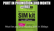 Simple Mobile Sim Card Port in Promotion $50 Plan,1month(30days),3rd Months Free