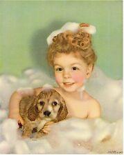 Genuine Vintage Calendar Print C1930S Dog Cocker Spaniel Bubble Bath Nos