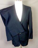 vtg 60s Bond Clothes Director Group Shiny Blue Herringbone Sharkskin Suit 42 R