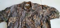 Columbia Button Down Casual Camo print Brown  Short Sleeve Shirt Men's L 75-30