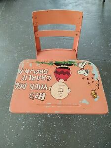 """Vintage Charlie Brown Hand Painted Metal Student Desk Pink 28"""" x 20"""""""