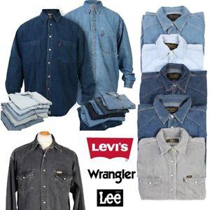 Levis Wrangler Lee Denim Shirt Long Sleeved Grade A Various Size XS-XXL