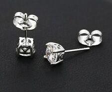 "9k 9ct White ""GOLD FILLED"" Ladies Girls White Round stone stud Earrings.6mm Gift"
