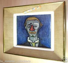 Oeuvre toile_Tête clown_Bernard BUFFET (1928-99)_Art déco peinture vintage cadre