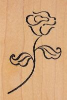"""rose stem unbranded Wood Mounted Rubber Stamp 2 1/2 x 3""""  Free Shipping"""