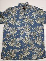 Harley Davidson Silk Shirt Hawaiian Aloha Blue/White Motorcycle Mens Medium O11