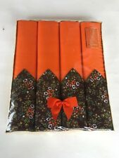 Retro 60s 70s elegance orange brown floral boxed set 4 napkins & place mats