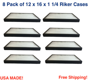 8 Pack of 12 x 16 x 1 1/4 Riker Display Cases Boxes for Collectibles Jewelry