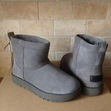 UGG Classic Mini Metal Grey Waterproof Suede Sheepskin Boots Size US 6 Womens
