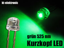 10 Stück LED 5mm straw hat grün, Kurzkopf, Flachkopf 110°