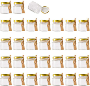 Mini Glass Jars With Lids Small Honey Jam Container Clear Storage X30, 1.5Oz
