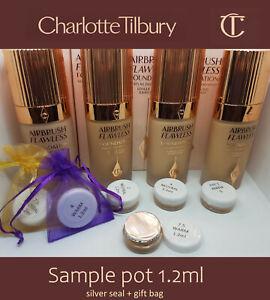 Charlotte Tilbury Airbrush Flawless Foundation various shades sample pot UK