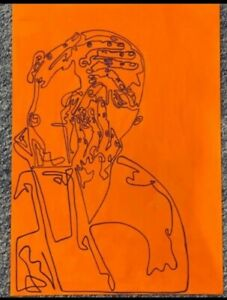 A2 painting on canvas. Portrait, purple and orange one line drawing. Wall art