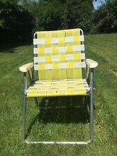Aluminum Webbed Folding Lawn Chair yellow/ white webbing