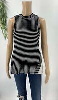 White House Black Market Womens Knit Tank Top Shirt Size S Stripe Side Chffon D8
