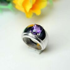 925 Solid Silver Natural Amethyst Faceted Octagon Men Silver Ring