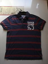 Superdry Navy Blue /Red Cotton Polo Shirt, Size Medum, 40 Inch chest.