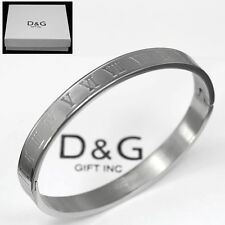 "DG 6.5"" Women's Stainless Steel Silver Roman-Numeral Bangle Bracelet Unisex +Box"