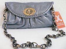 Carla Mancini Sidney Clutch Bag Ocean Blue Shimmer Leather Removable Strap NWT