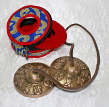 Zimbeln Tingsha 2er Set BLAU 8 Glückssymbole PUJA TIBET BUDDHA NEPAL INDIEN ASIA