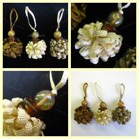 Pom Pom ribbon key tassel with amber antique glass bead detail Cabinet desk trim