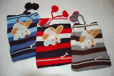 PUPPY DOG Blue Red Gray STRIPED Lot of 3 KNIT STOCKING HATS Toddler Boys
