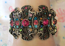 Crystal Ruffled Stretch Bracelet Antique Silver & Multi Colored Crystals
