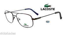 New Lacoste L2125 210 Rx Eyeglasses | Brown Aviator Frames with Demo Lens
