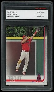 """MIKE TROUT 2019 TOPPS """"LEAPING"""" 1ST GRADED 10 BASEBALL CARD LOS ANGELES ANGELS"""
