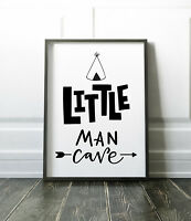 Scandinavian Little Man Cave Print Boys Bedroom / Nursery Print Black & White