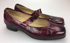 Aravon Cranberry Textured Patent Leather Mary Jane Slip On Shoes Flats Size 11 B