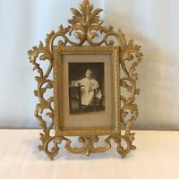 "Antique Baroque Cast HEAVY Picture Frame Stamped ""JM 34"" Ornate Baby Photo"