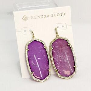 New Kendra Scott Danielle Gold Statement Earrings In Purple Mica