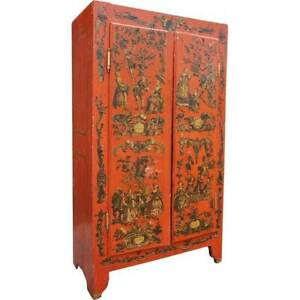 Antique Italian Red Painted Pine Astrological Lacca Povera Wardrobe 19th century