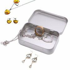Metal Tin Silver Flip Small Storage Box Case Organizer For Money Coin Candy Keys