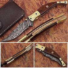 Executive Series Baekelite ENGRAVED Clip-Point Folding DAMASCUS Knife Folding