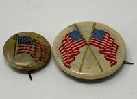 American Flag Celluloid Pinback WWI Lot Of 2 Vintage Original 19-1085