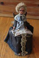 Belgium Brugge Grandma Doll Souvenir Vintage Lace maker Woman Grandmother chair