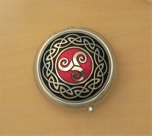 Small Celtic Spiral Pill Box Made in England Red & Black one compartment