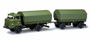 HERPA 744584 minitanks camion militare IFA L60 con rimorchio DDR H0 1:87