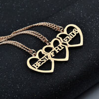 Gold Tone 3 Hearts Best Friend Friendship Necklace One Set 3 Pieces