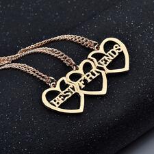 Gold Tone 3 Hearts Best Friend Friendship Necklace One Set 3 Pieces