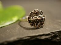Kleiner 835 Silber Ring Art Deco Jugendstil Markasiten Blüten Form Verziert
