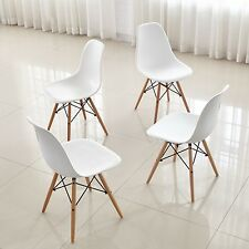 Set of 4 White Dining Chairs Furniture Set Designer Style Living Room Decor
