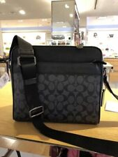 100% New Authentic COACH (CHARLES SIGNATURE BLACK LEATHER Shoulder Bag Crossbody