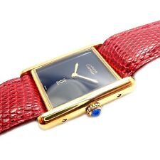 Authentic! Cartier Tank Vermeil 925 Unisex Manual Wind Watch