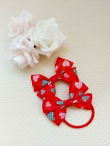 Valentine's Hair Bow Bobbles Heart Red x2